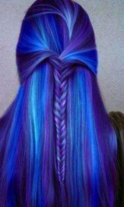 mechas azules combinadas