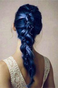 mechas azules para novias