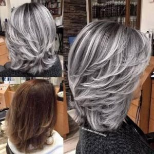 mechas platinadas media melena
