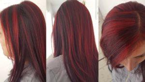 mechas rojas en pelo negro