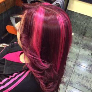 mechas rosas anchas