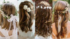 peinados comunion con flores