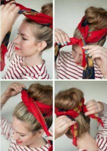 peinados pin up pañuelo con moño