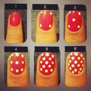 diseños de uñas puntos blancos