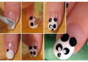 uñas decoradas con panda paso a paso
