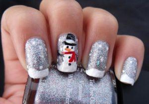 uñas navideñas muñecos de nieve