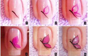 uñas pintadas con mariposas