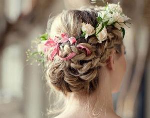 recogidos con flores novia