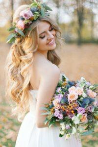 Melena con corona de flores